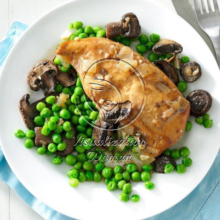 Pressure-Cooker Mushroom Chicken and Peas